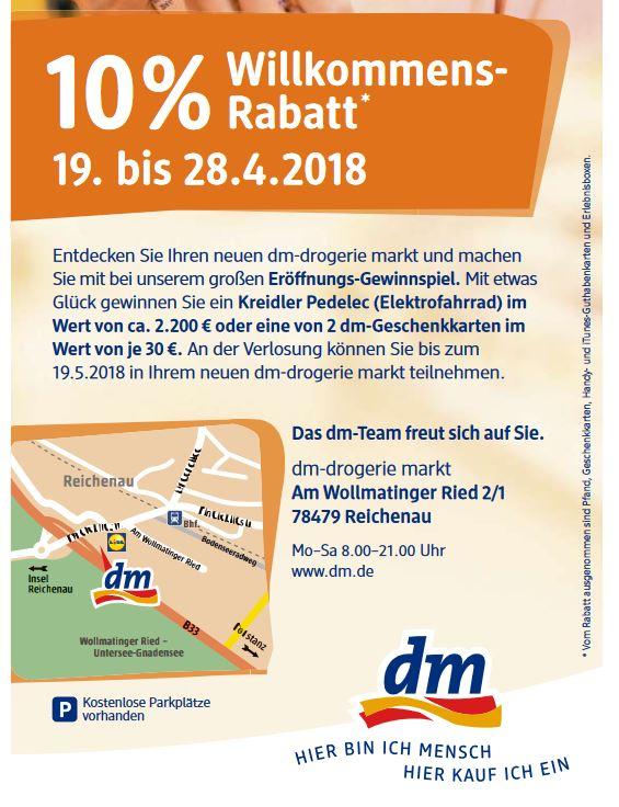 [Lokal Konstanz Reichenau] DM Drogeriemarkt 10% Eröffnungsrabatt