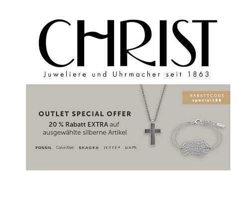 Christ Outlet: 20% Extra-Rabatt auf ausgewählten Silberschmuck!