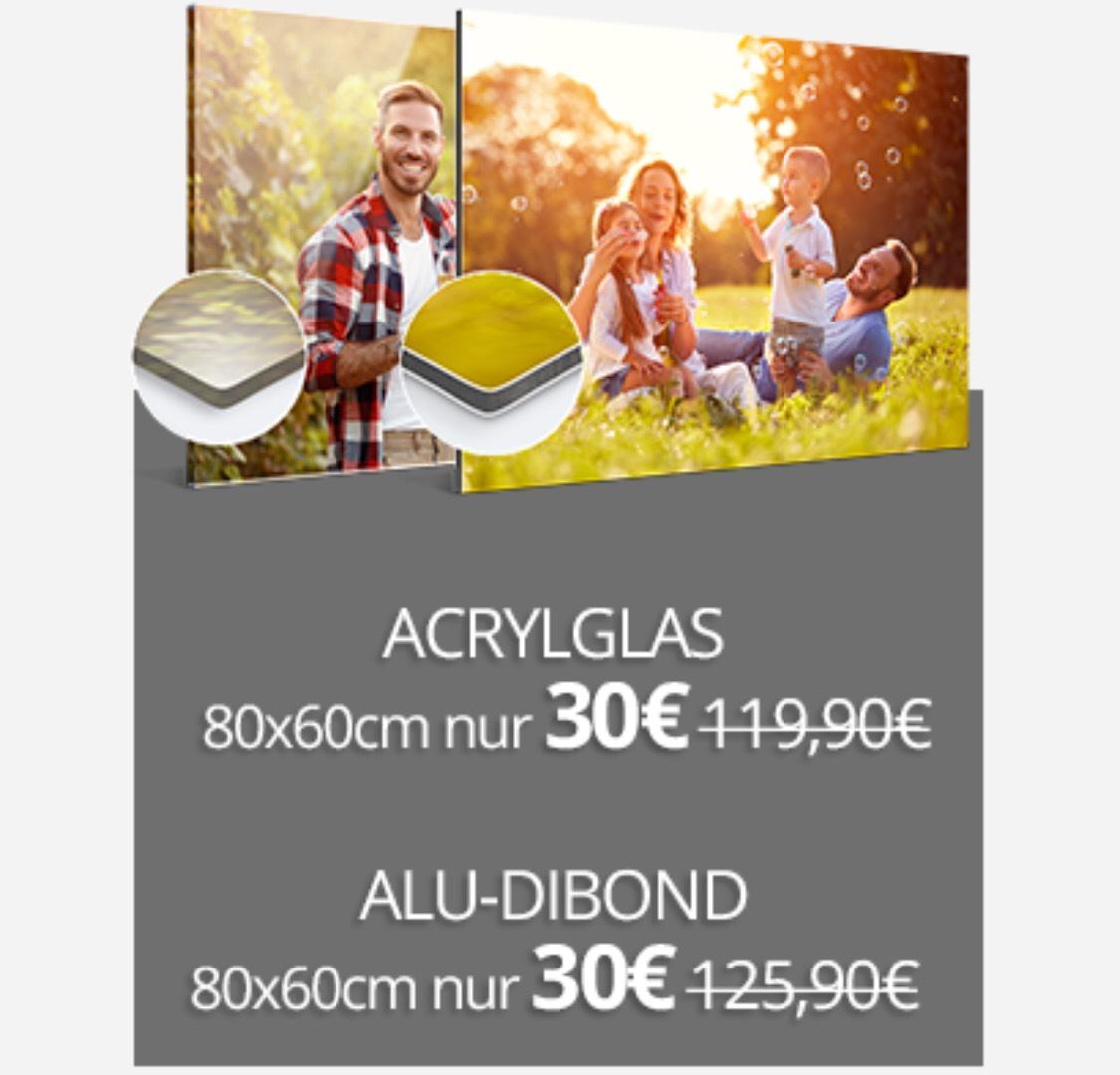 Foto hinter Acrylglas oder auf Alu-Dibond zB 80x60 für 30€ statt 56€ (exkl. Versand)