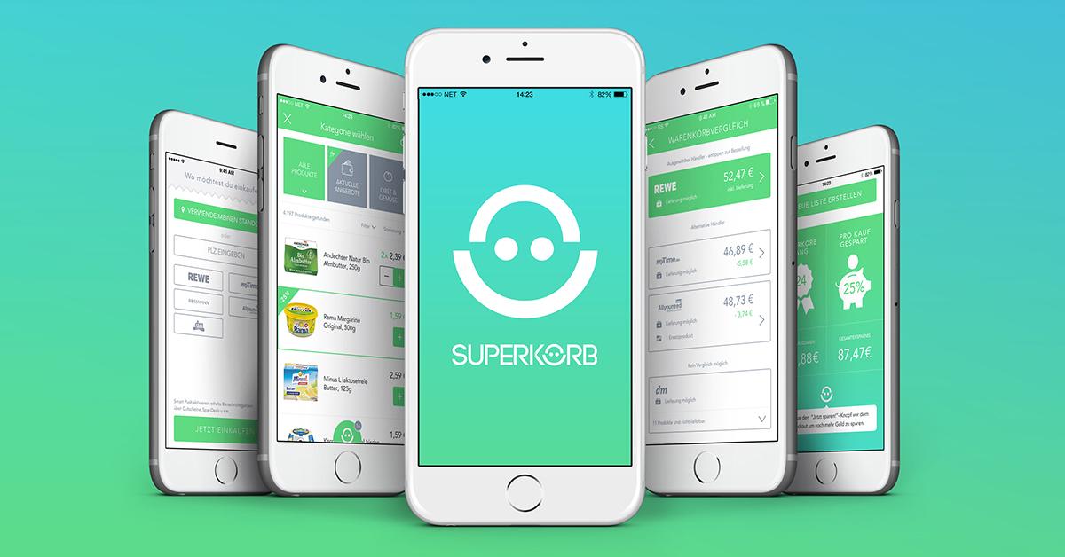 (Superkorb) Einkaufsapp (iOS) mit € 5 Cashback (durch Hochladen der Einkaufsrechnung)