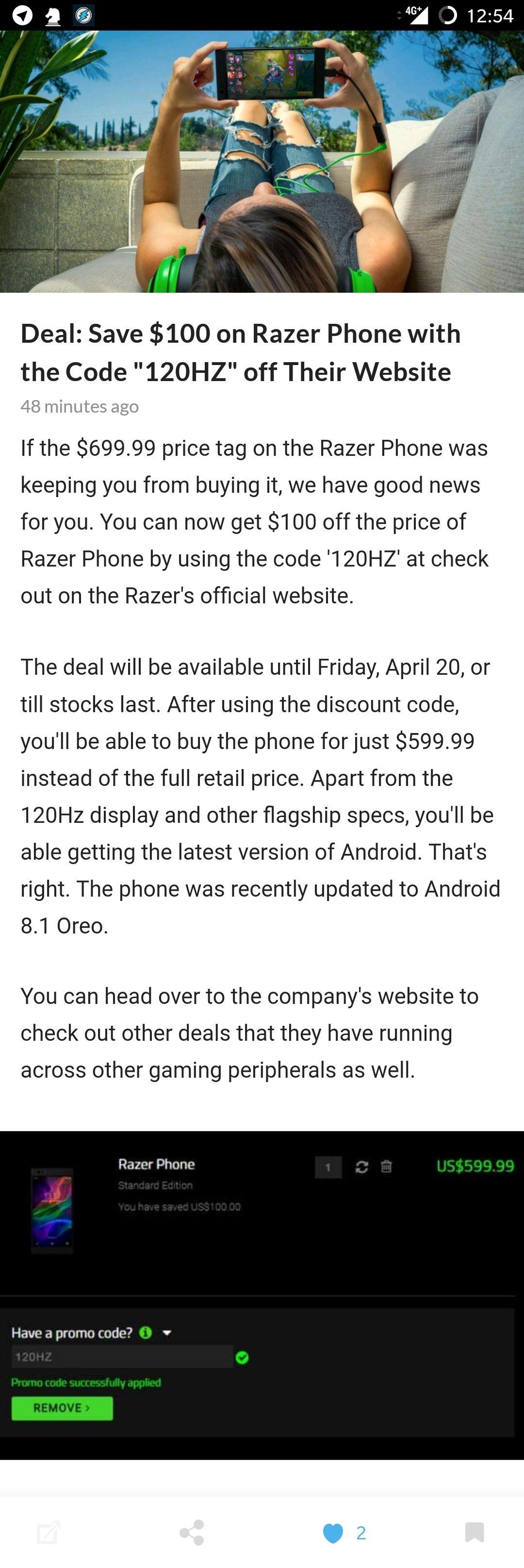 100$ Rabatt auf Razer Gaming Phone. Momentan auch gratis Versand nach Deutschland.