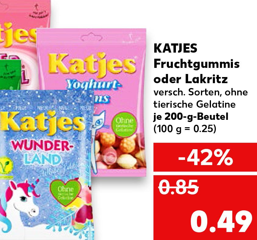 Katjes Fruchtgummi oder LAKRITZ 42% günstiger für nur 0,49€ @Kaufland ab 30.04.