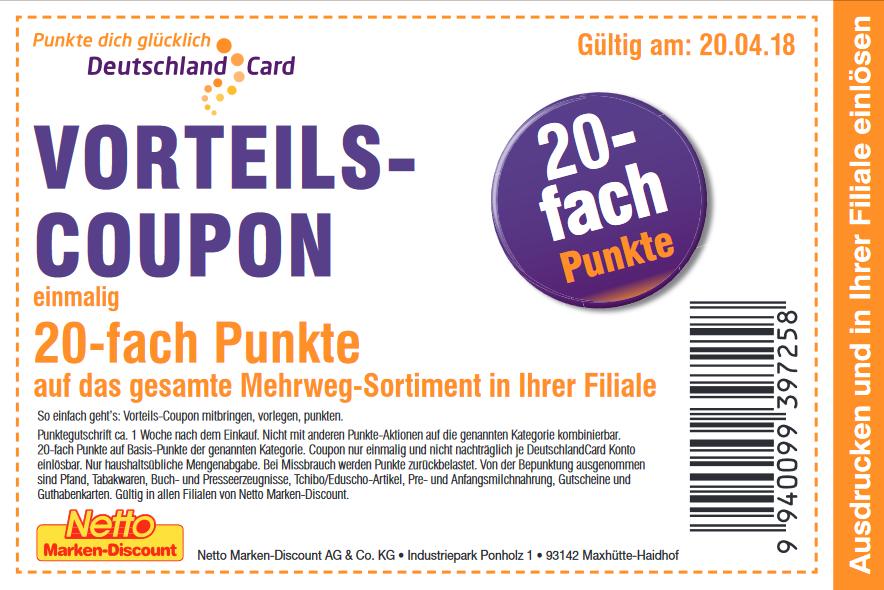 Am 20.4.18 bei Netto-Deutschlandcard Einmalig 20-fach Punkte auf das gesamte Mehrweg-Sortiment in Ihrer Filiale!