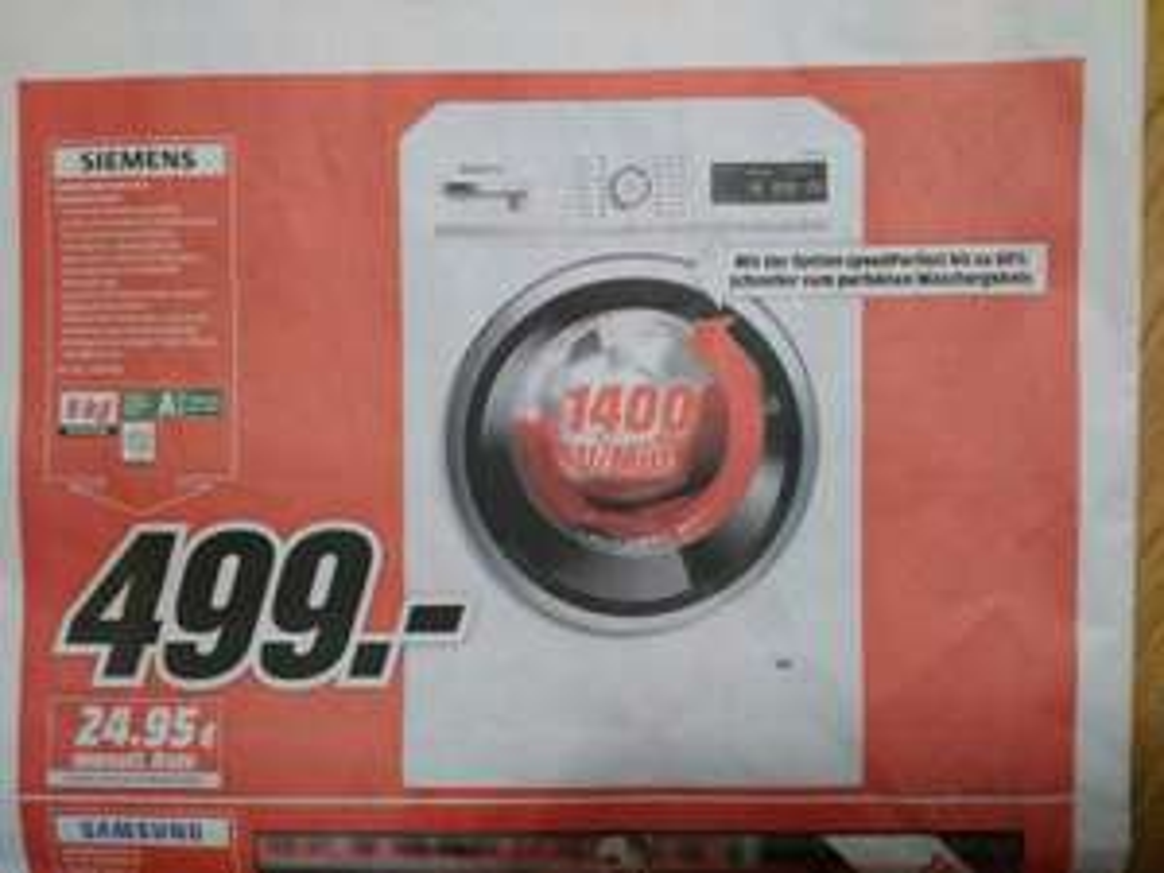 Waschmaschine Siemens WM 14 W 5 FCB 9KG iQ700 Lokal Mediamarkt Buchholz i.d.N.