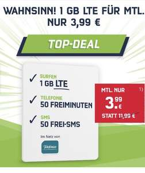 1 GB + 50 Telefonminuten/SMS für 3.99€