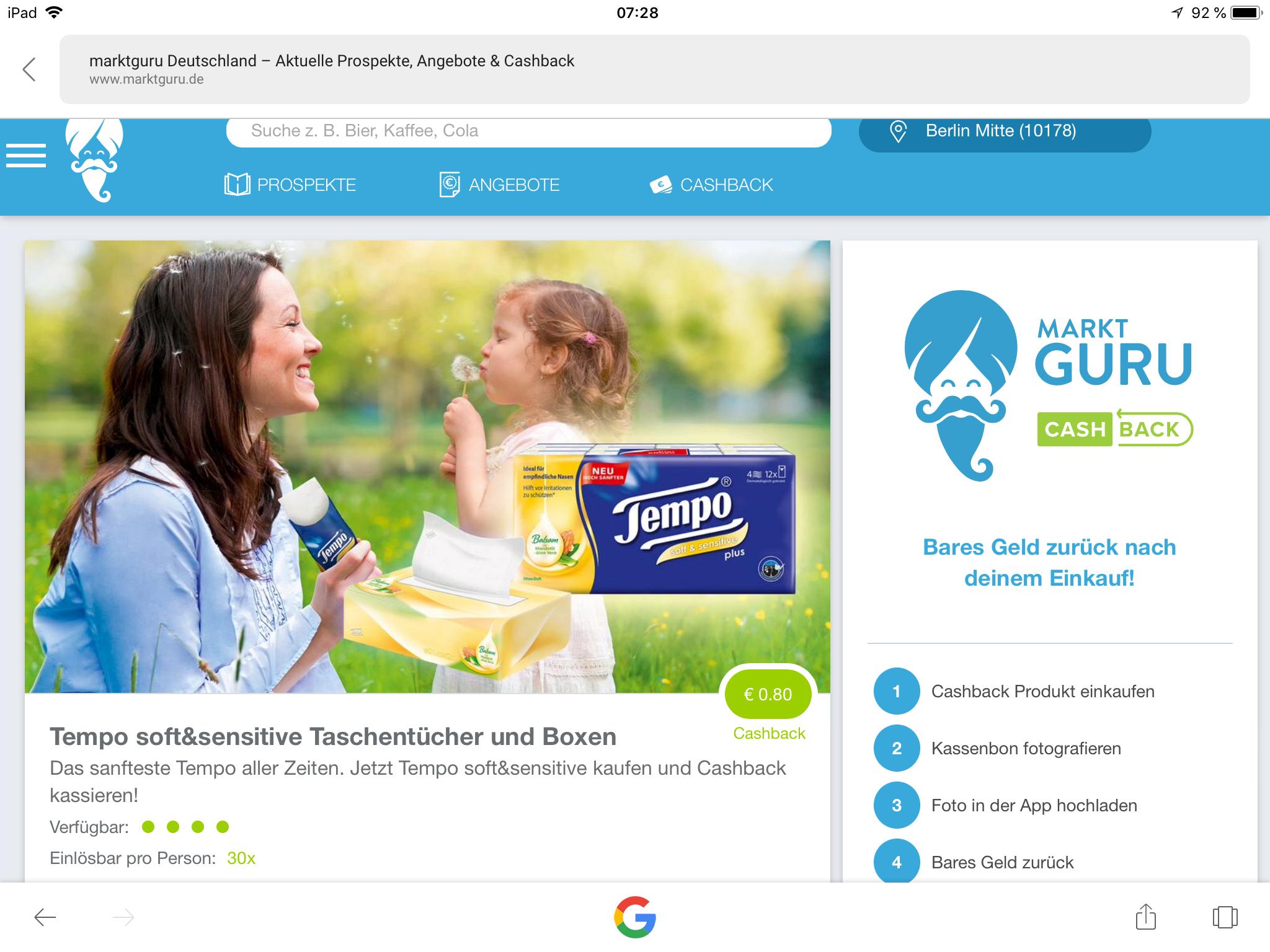 (Marktguru) -€0,80 auf Tempo soft & sensitive