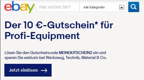 Ebay - 10 Euro Gutschein für Profi - Equipment - MBW 30 Euro