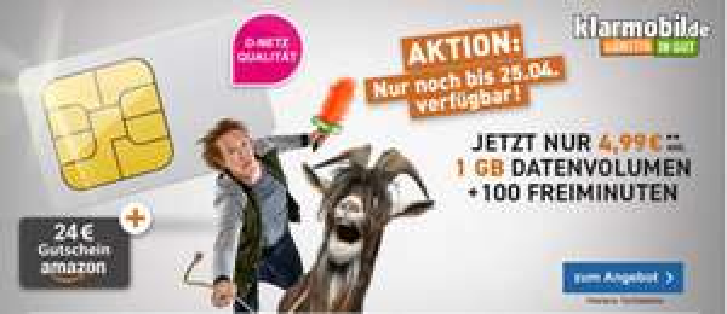 Klarmobil Telekom Smart-Flat-1000 für 4,99€ / Monat + 24€ Amazon Gutschein