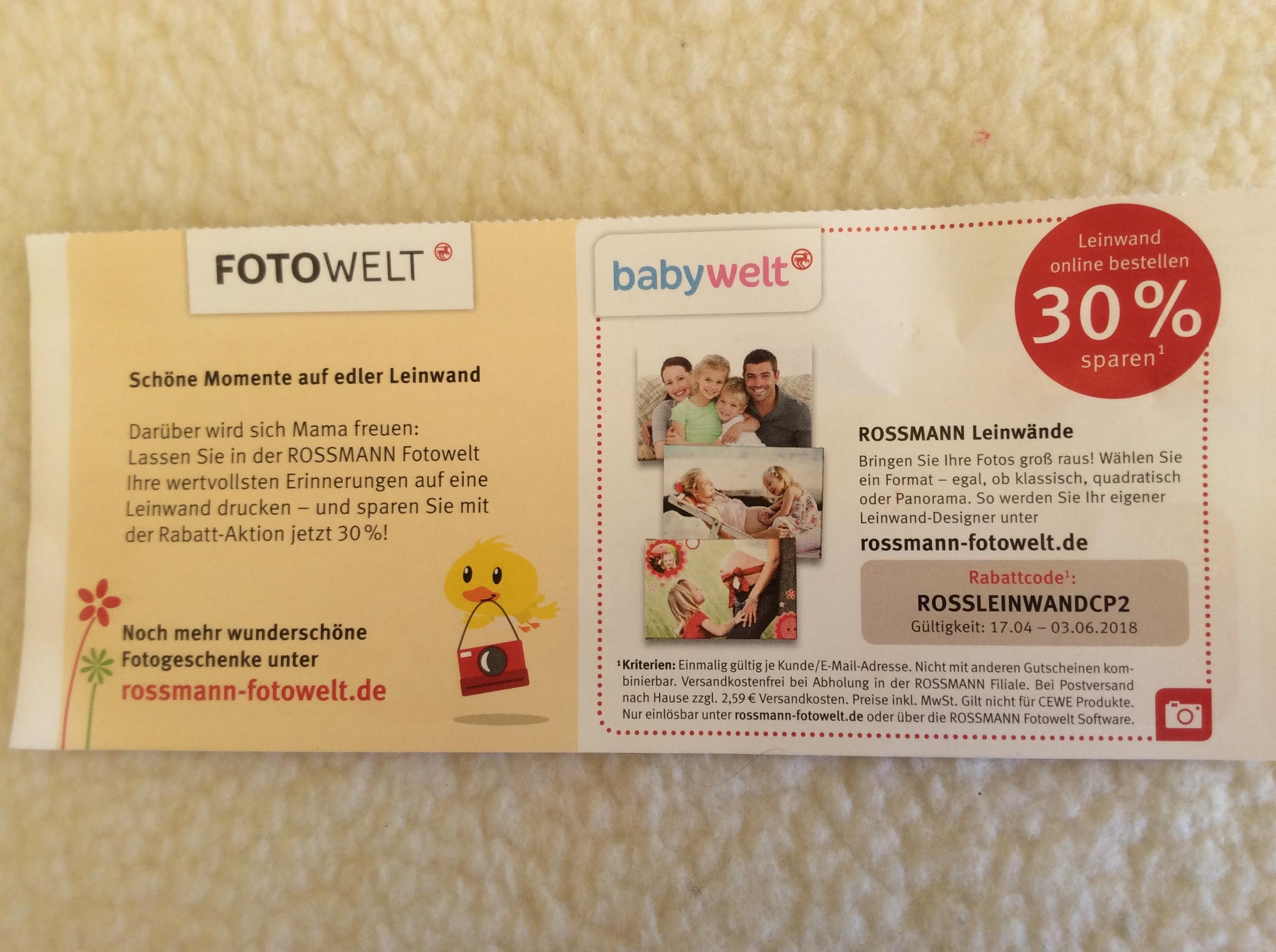 (Rossmann) FOTO/BABYWELT auf Leinwände 30% sparen
