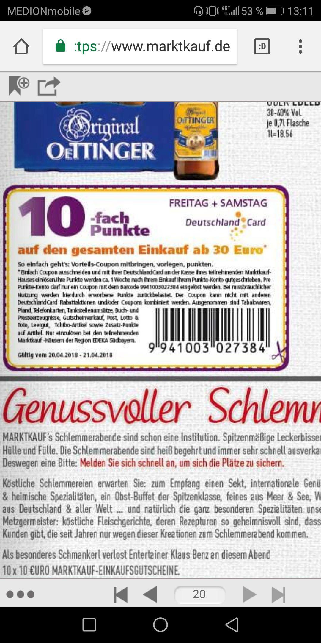 [LOKAL EDEKA/MARKTKAUF SÜDBAYERN] 10fach Punkte Deutschlandcard!