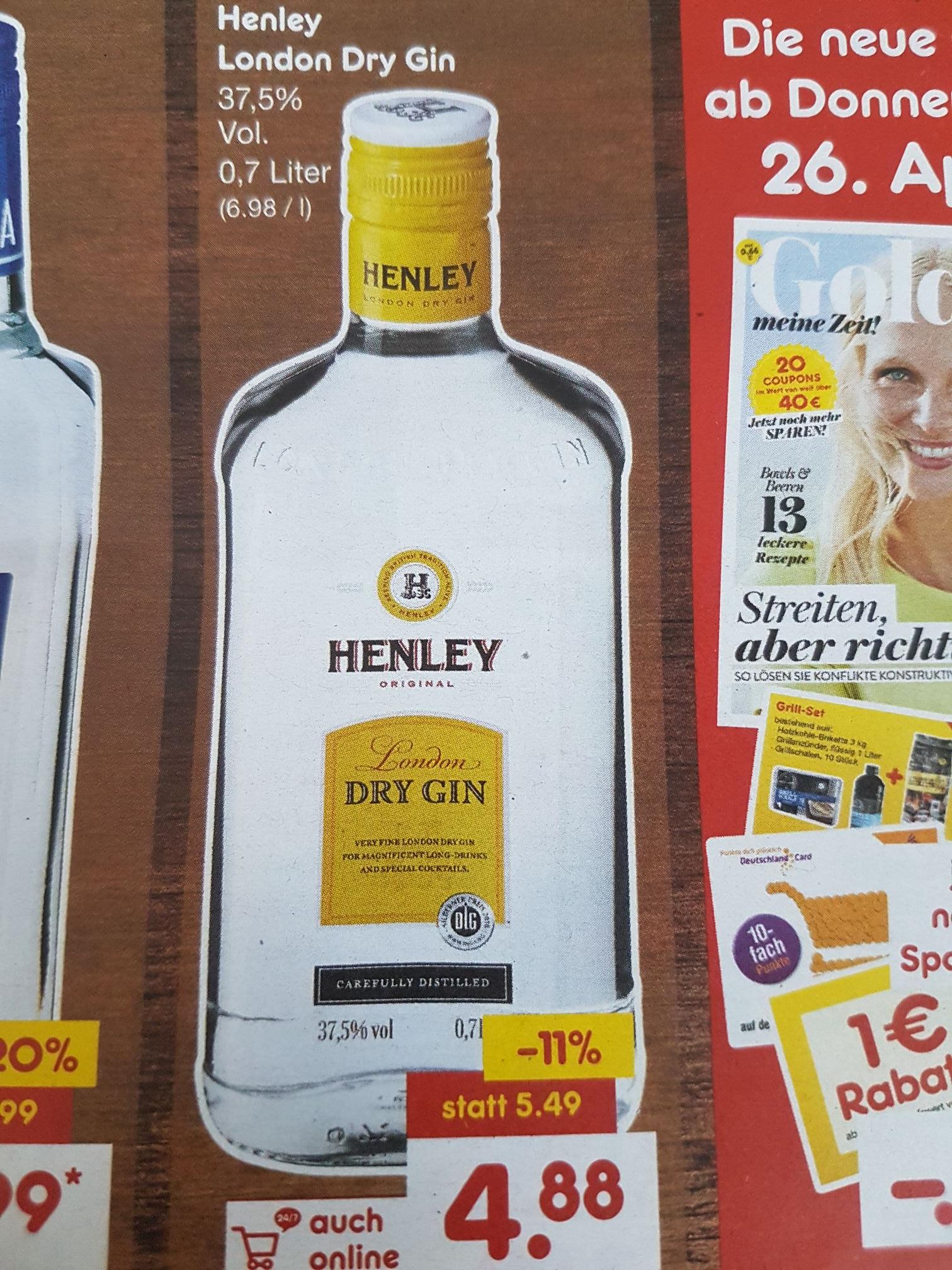 [NETTO bundesweit] Henley London GIN 0,7l für 4,88€