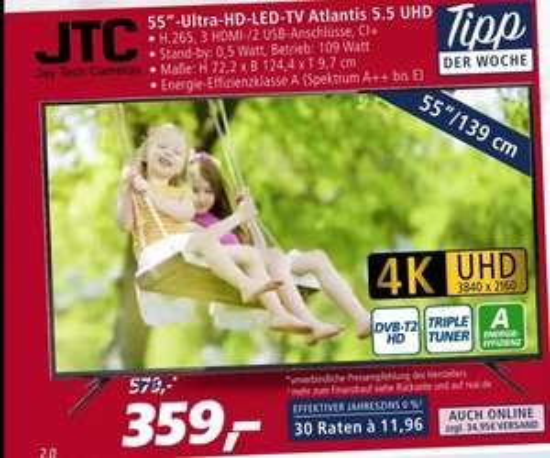 Real Offline Jtc 4k Ultra Hd Led Tv 139cm 55 Zoll Atlantis 55
