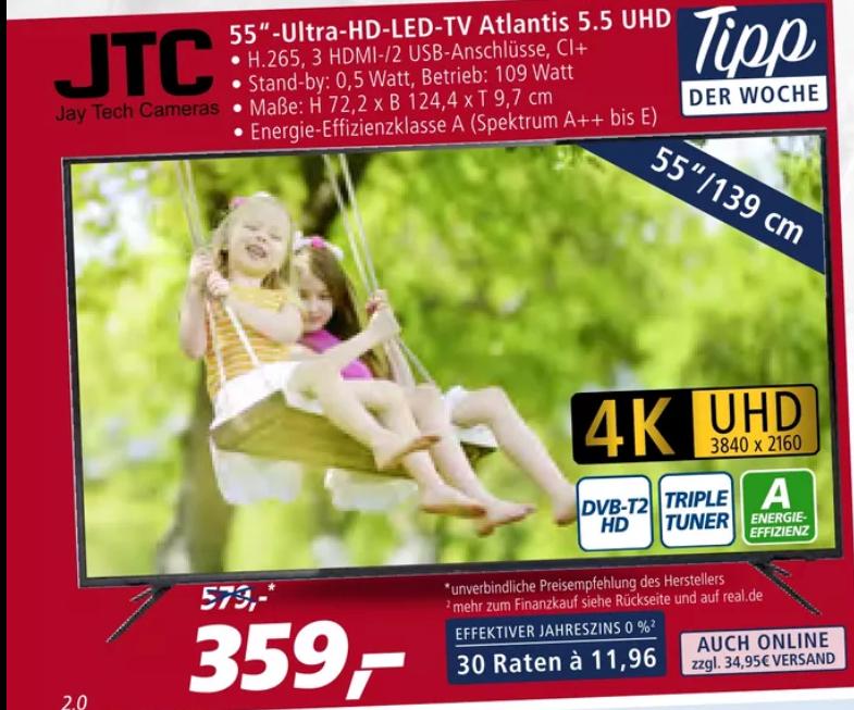 (Real offline) JTC 4K Ultra HD LED TV 139cm (55 Zoll) Atlantis 5.5 Triple Tuner UHD
