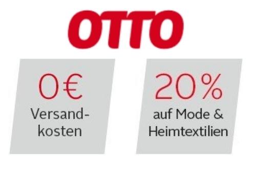Otto.de 20% Rabatt-Gutschein auf Mode & Heimtextilien mit 0€ Versandkosten-Gutschein kombinierbar