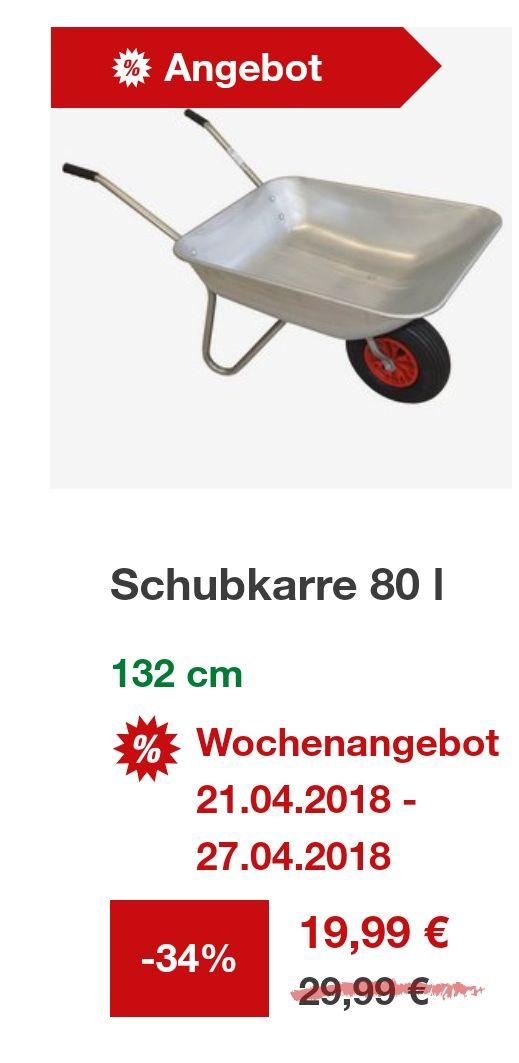 [Toom Baumarkt] Gartenschubkarre 80l für 19,99 Euro