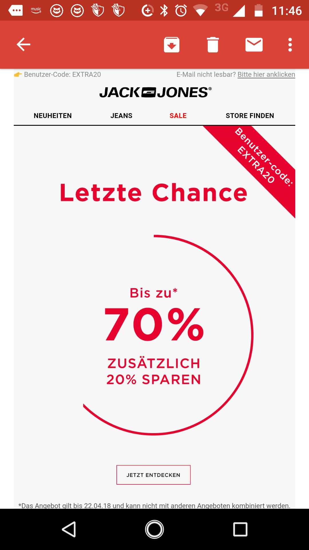 [Jack &Jones ] Sale bis zu 70% +20% Extra