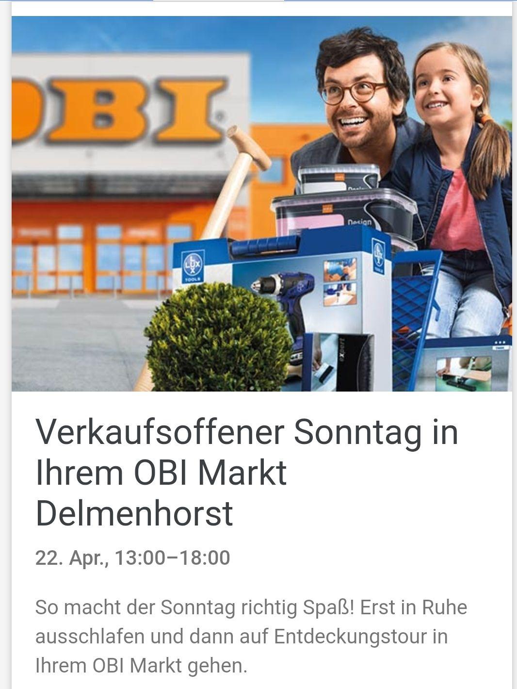 2x 15%* Rabatt Gutscheine für den Verkaufsoffener Sonntag am 22.04. bei [Obi in Delmenhorst + weitere] dadurch z.B. der Weber One-Touch Original 57 cm für 152,99€