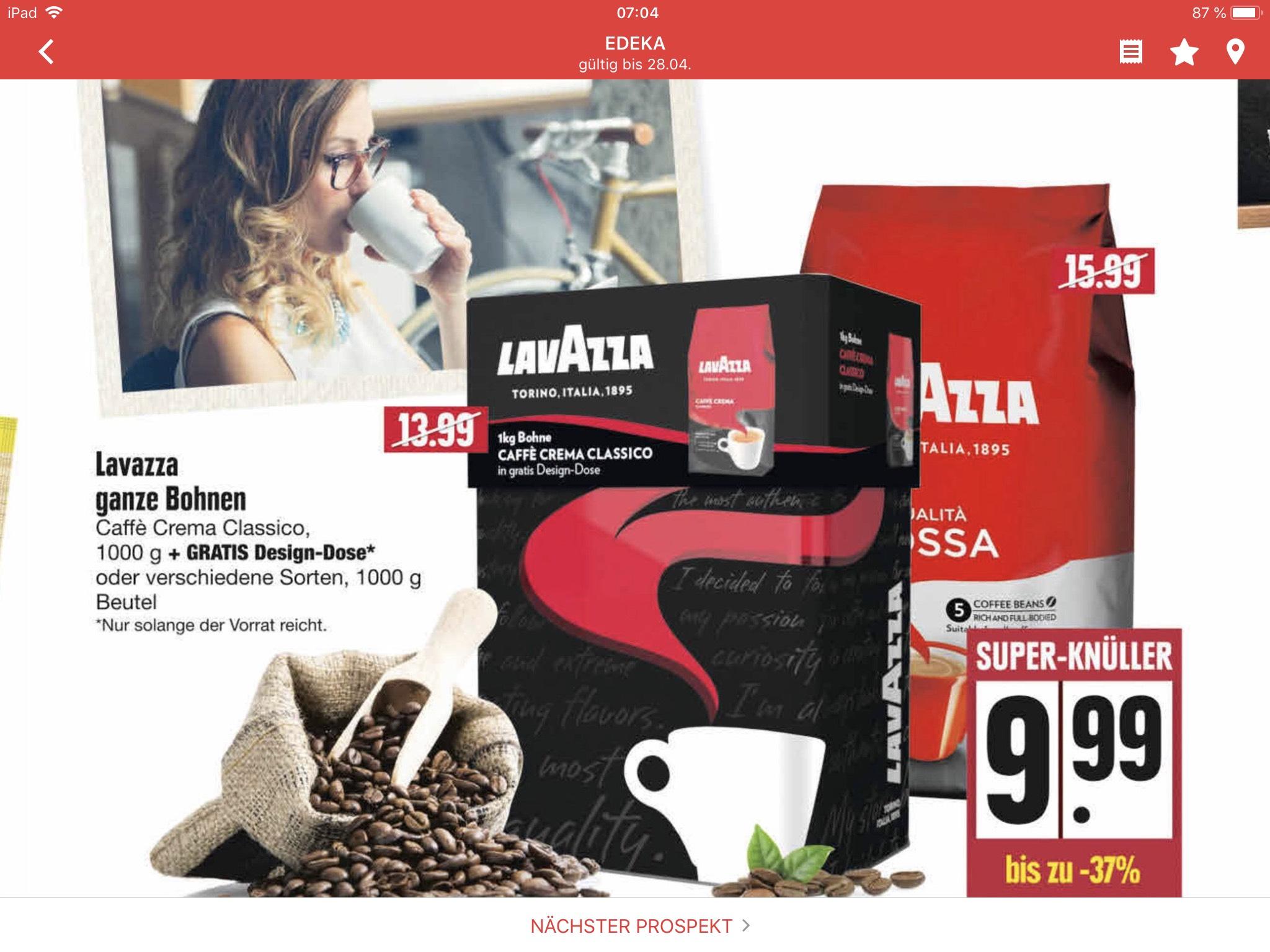 [Edeka/Marktkauf] 1 Kg Lavazza Caffè Crema Classico Kaffeebohnen + gratis Design Dose