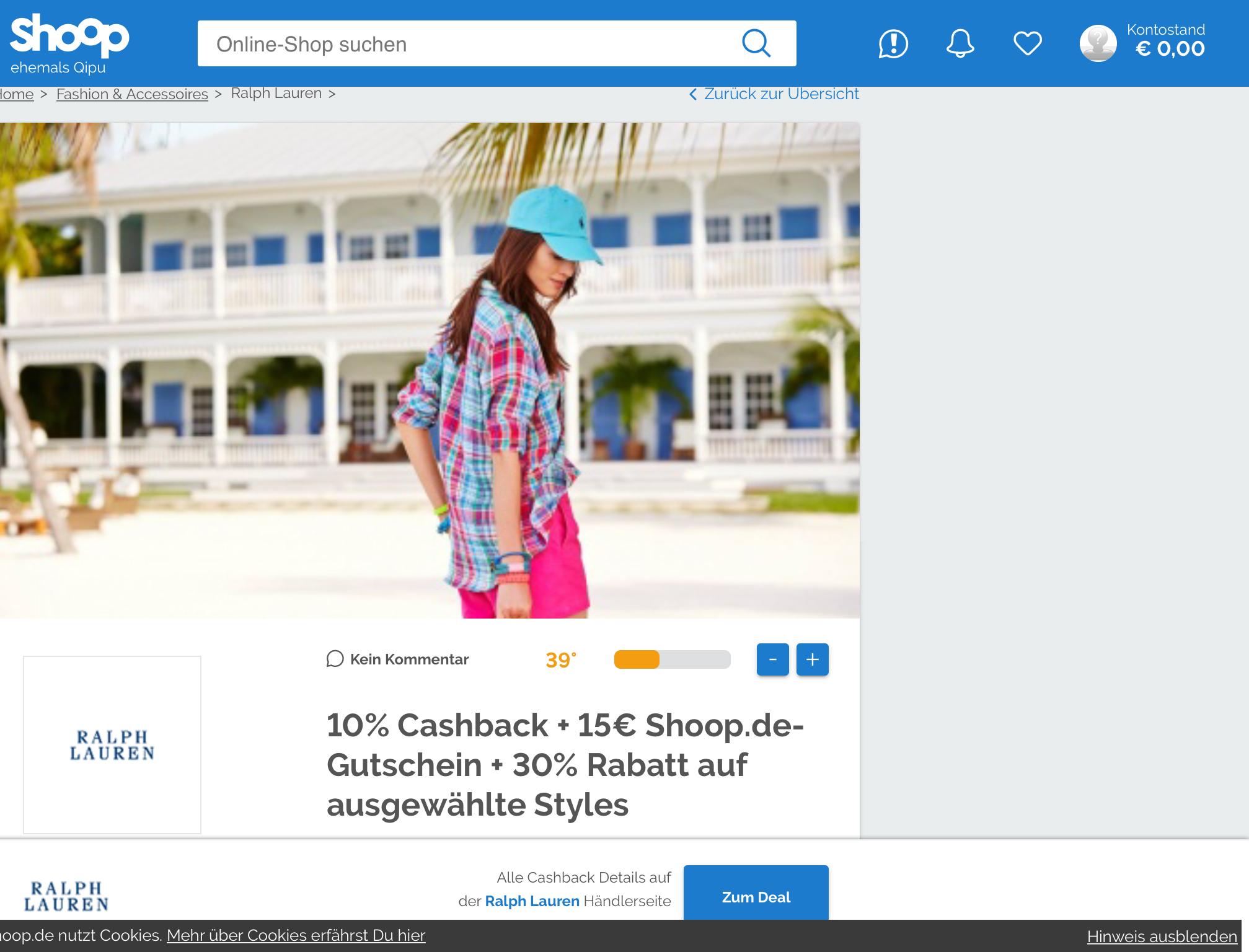 [Ralph Lauren] 10% Cashback UND Gutschein €15 (Mbw 19) über (Shoop)