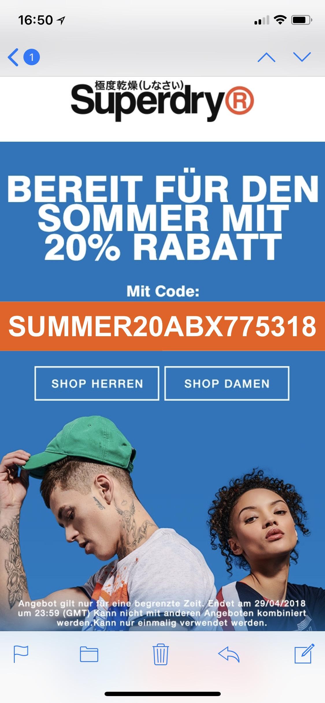 Superdry 20% Rabatt und 20% auf Polo Shirts