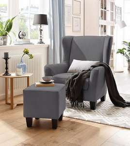 Home affaire Sessel mit Hocker im Set »Chilly« mit Federkern-Polsterung, in Karo + Unifarben