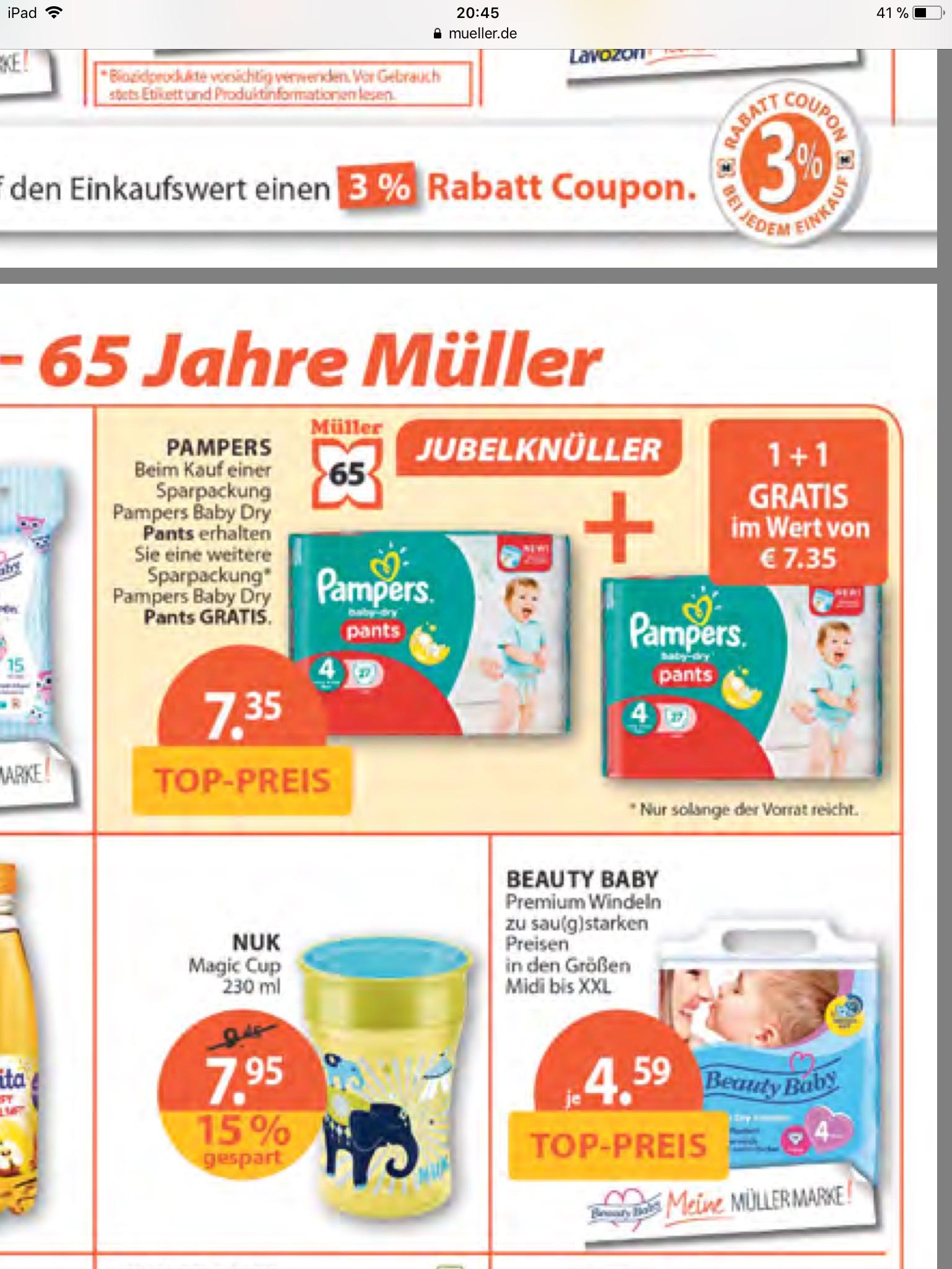 7,35€ für 2 Sparpackungen (evtl. 11,70€ für 4 Packungen bei Einlösung des 3€ Coupons) Pampers Baby Dry Pants bei Müller