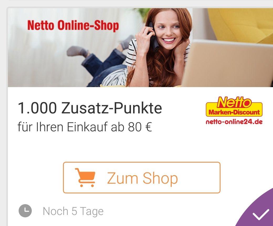 1000 Zusatz-Punkte für Einkauf ab 80€ bei netto-online24.de über die [DeutschlandCard App]