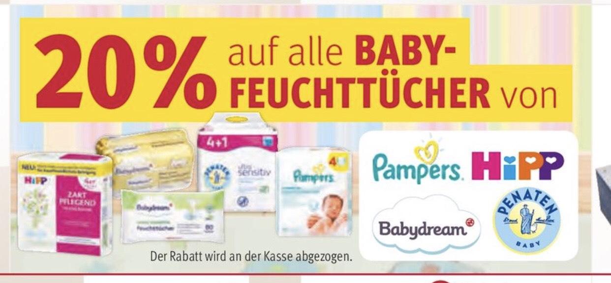 Rossmann: 20% auf Feuchttücher von Hipp, Babydream, Penaten und Pampers + Coupon + 10%