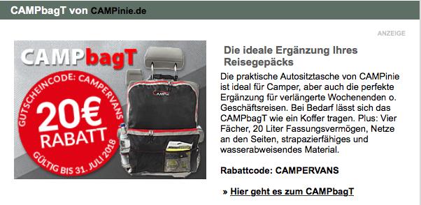 20 EUR Rabatt  - Praktische Autositztasche