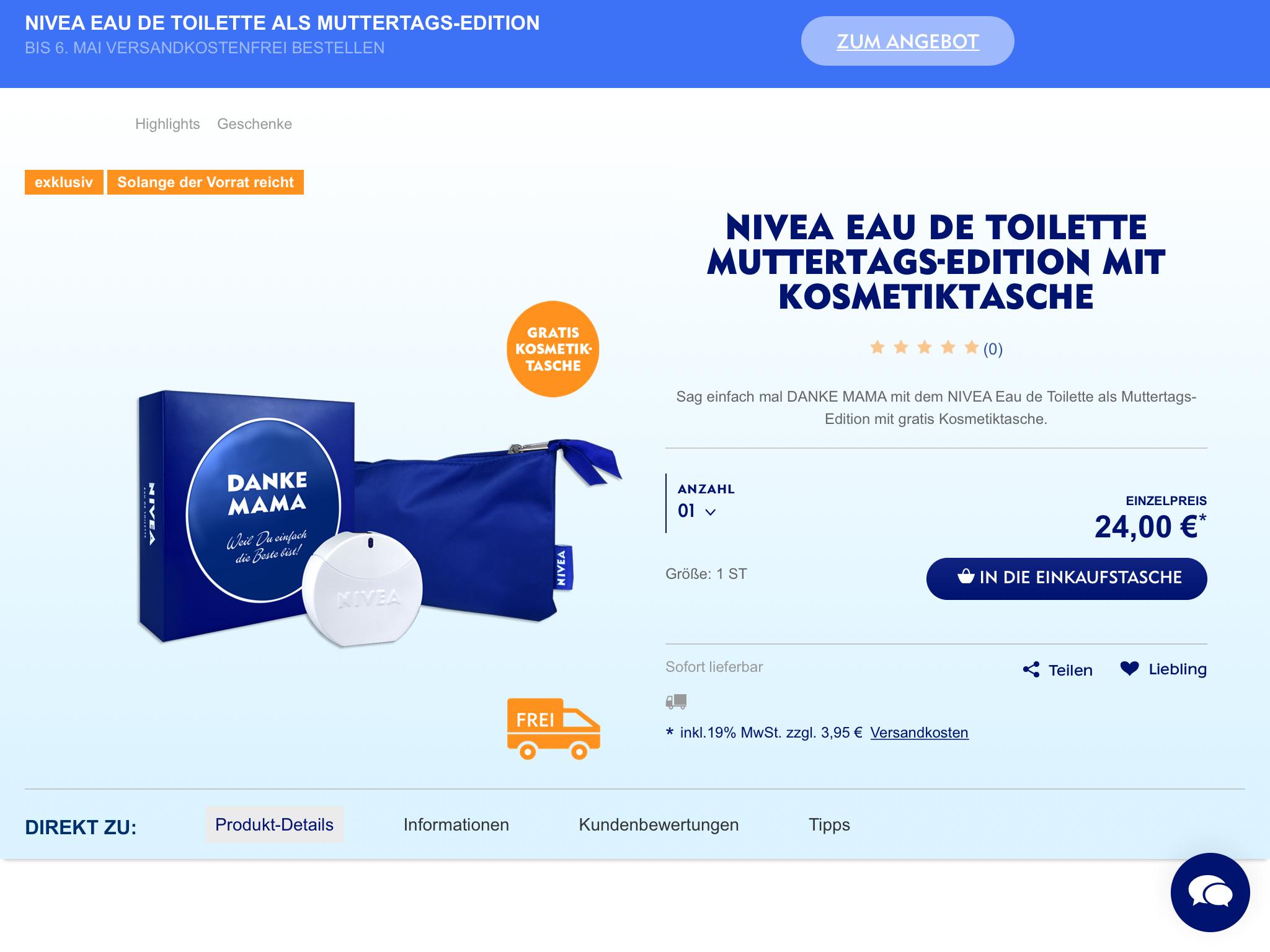 NIVEA EdT Muttertagsedition mit cashback (shoop)