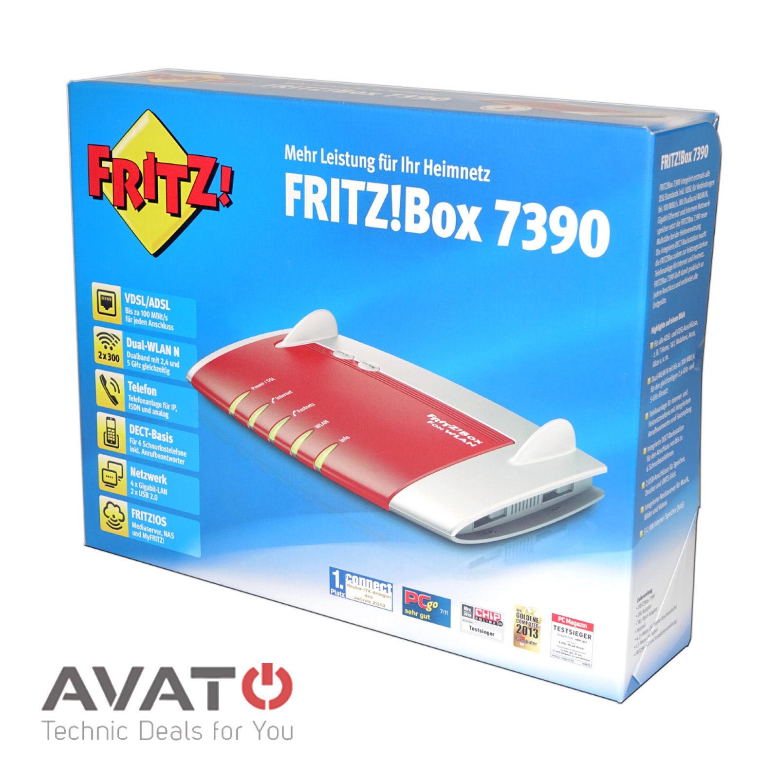 """[ebay] AVM FRITZBox 7390 300 Mbps 4-Port 1000 Mbps """"generalüberholt 24 Monate"""" Garantie"""
