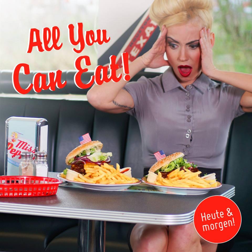 [endlich wieder] Veggie & Vegan Burger All You Can Eat bei Miss Pepper American Restaurants für 11,90€ am 23. & 24.04.2018
