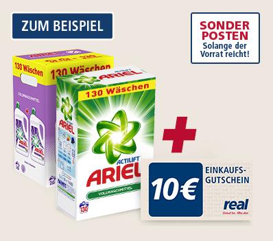 [Real,-] 2x Ariel Waschmittel (105 oder 130 Waschladungen) kaufen und 10€ Gutschein erhalten