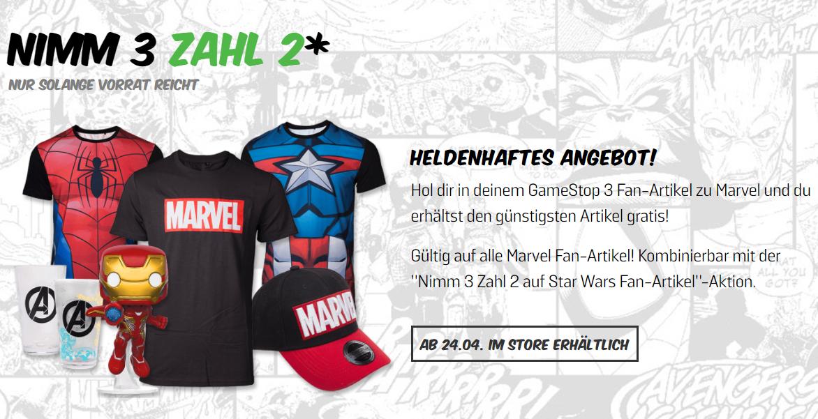 Marvel-Fanartikel oder StarWars-Fanartikel 3 zum Preis von 2 [gamestop offline]