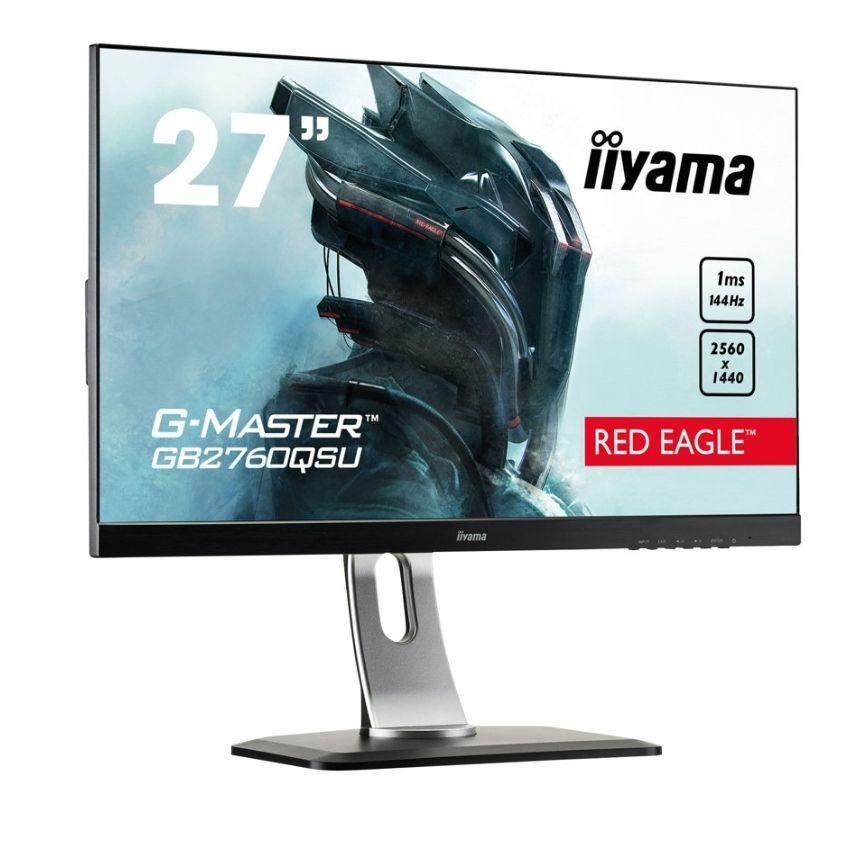 """IIYAMA G-MASTER GB2760QSU-B1 RED EAGLE 27"""" Zoll, WQHD 2560×1440, 1ms, 144hz, AMD FreeSync, Slim Bezel (""""randlos""""), integrierte Lautsprecher, Höhenverstellbar, 90° Neigbar"""