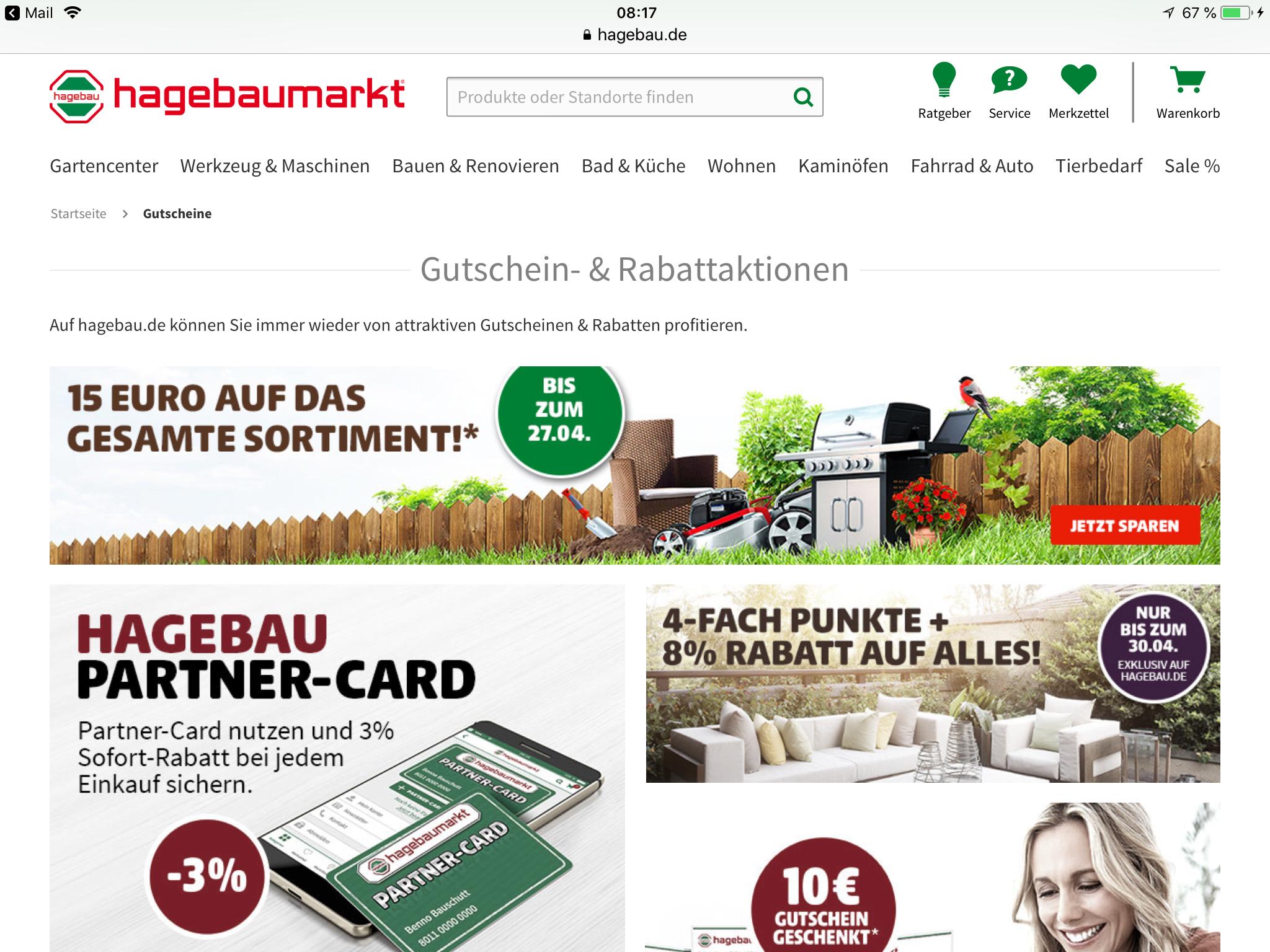(Hagebau.de) €15 Gutschein / MBW 80,-