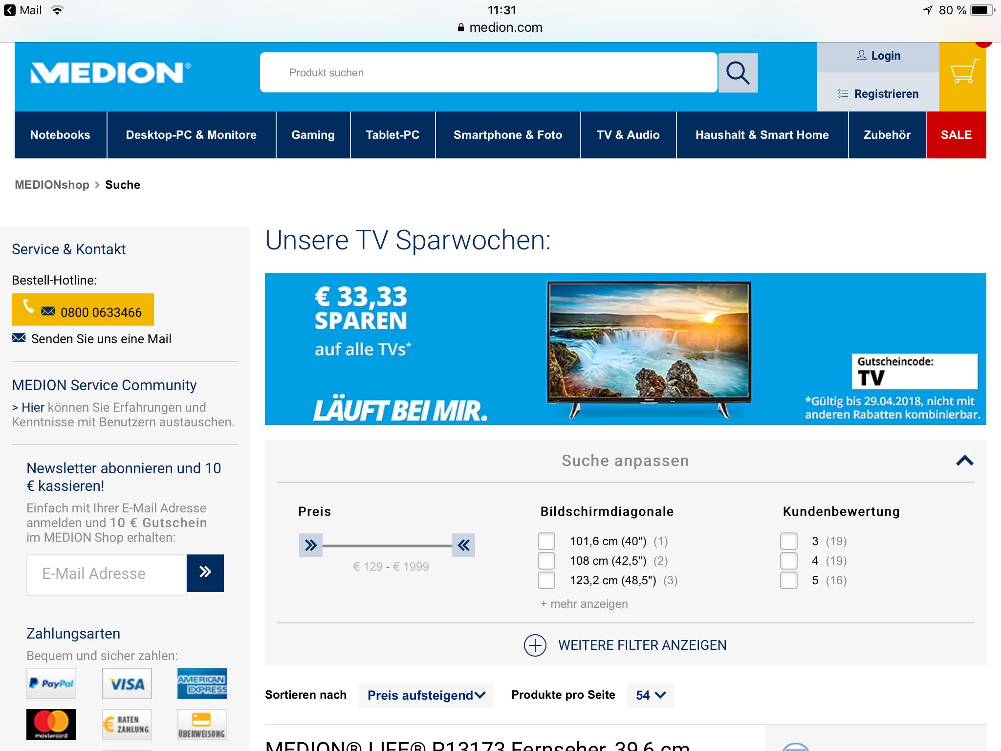 (Medion) Nachlass von € 33,33 auf TV-Geräte