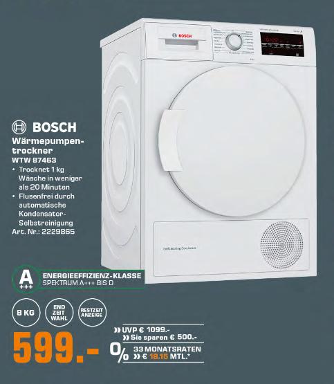 Saturn: Bosch Wärmepumpentrockner WTW 87463 (A+++, 8KG)