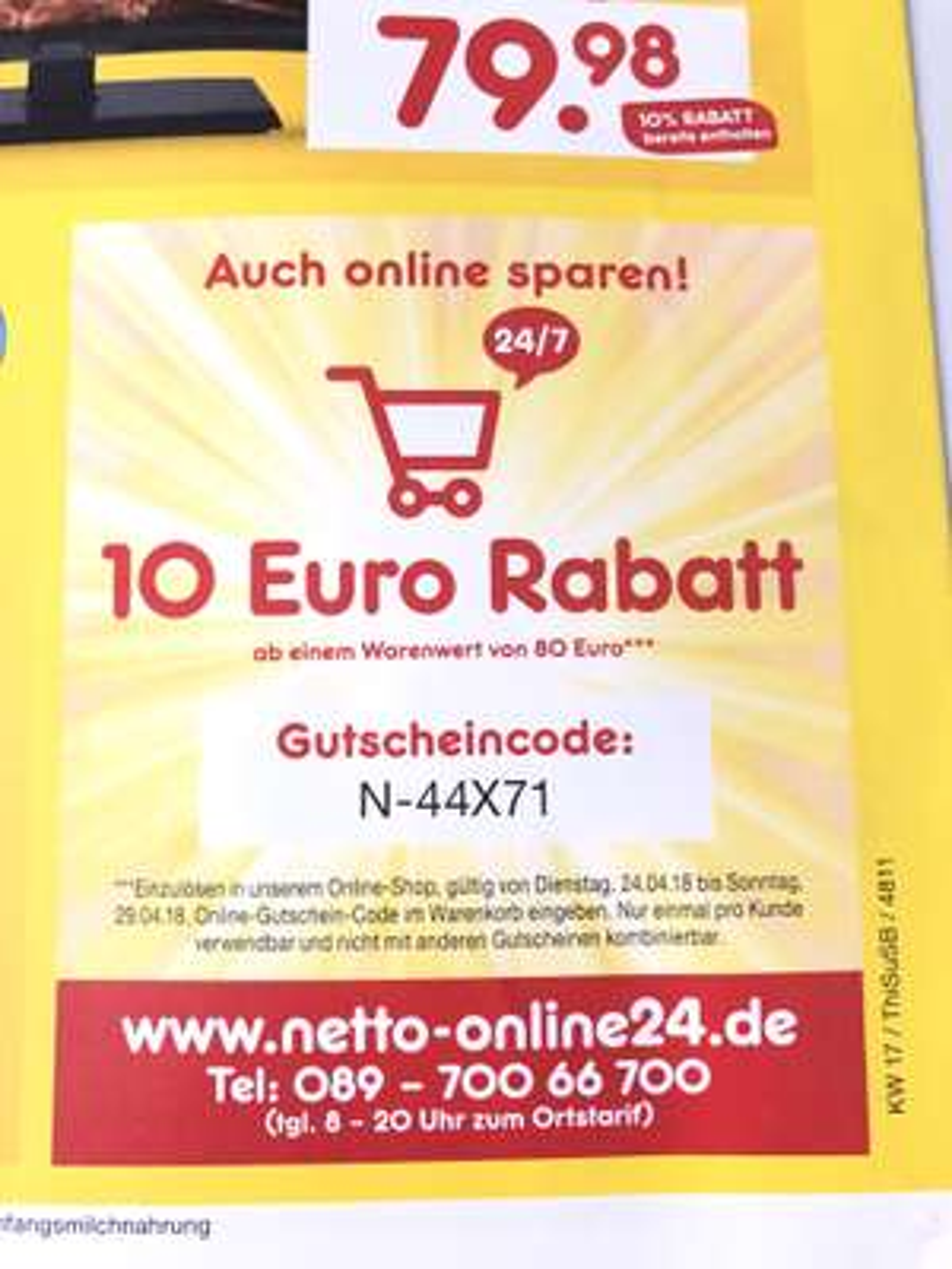 Netto MD. 10 Euro Rabatt ab 80 Euro MBW. Bis 29.4.