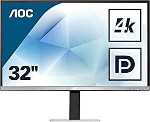 AOC U3277FWQ - 80 cm (32 Zoll), LED, MVA-Panel, 4K UHD, Auflösung: 3840x2160, Farbraum: 100% (sRGB), Farbtiefe: 10bit, Reaktionszeit: 4ms, Lautsprecher (2x 3W), 1x Line-In, 1x Line-Out, VGA, 1x DVI, 1x HDMI 2.0 (MHL), 1x DisplayPort 1.2