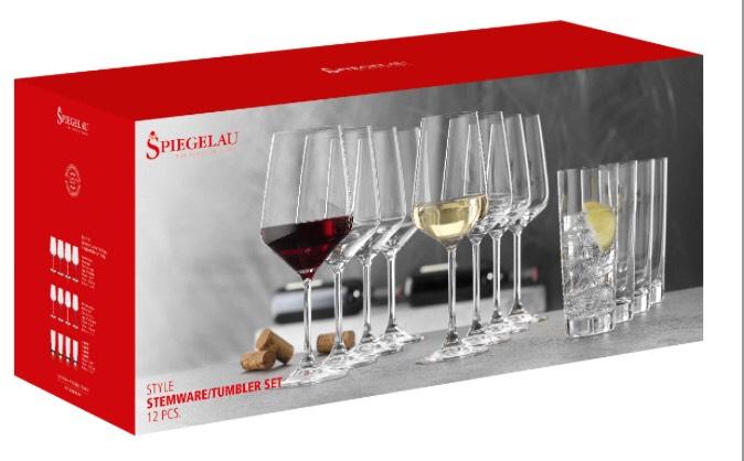"""Spiegelau Gläser-Set """"Style"""", 12-teilig, 4 Rotwein-, 4 Weißweinkelche und 4 Longdrinkbecher (17,10€ bei Abholung und PB)"""