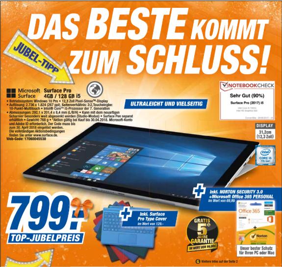 [Lokal Expert Neustadt a. Rbge.] Surface Pro 4GB RAM/128GB Speicher/i5/5Jahre Garantie