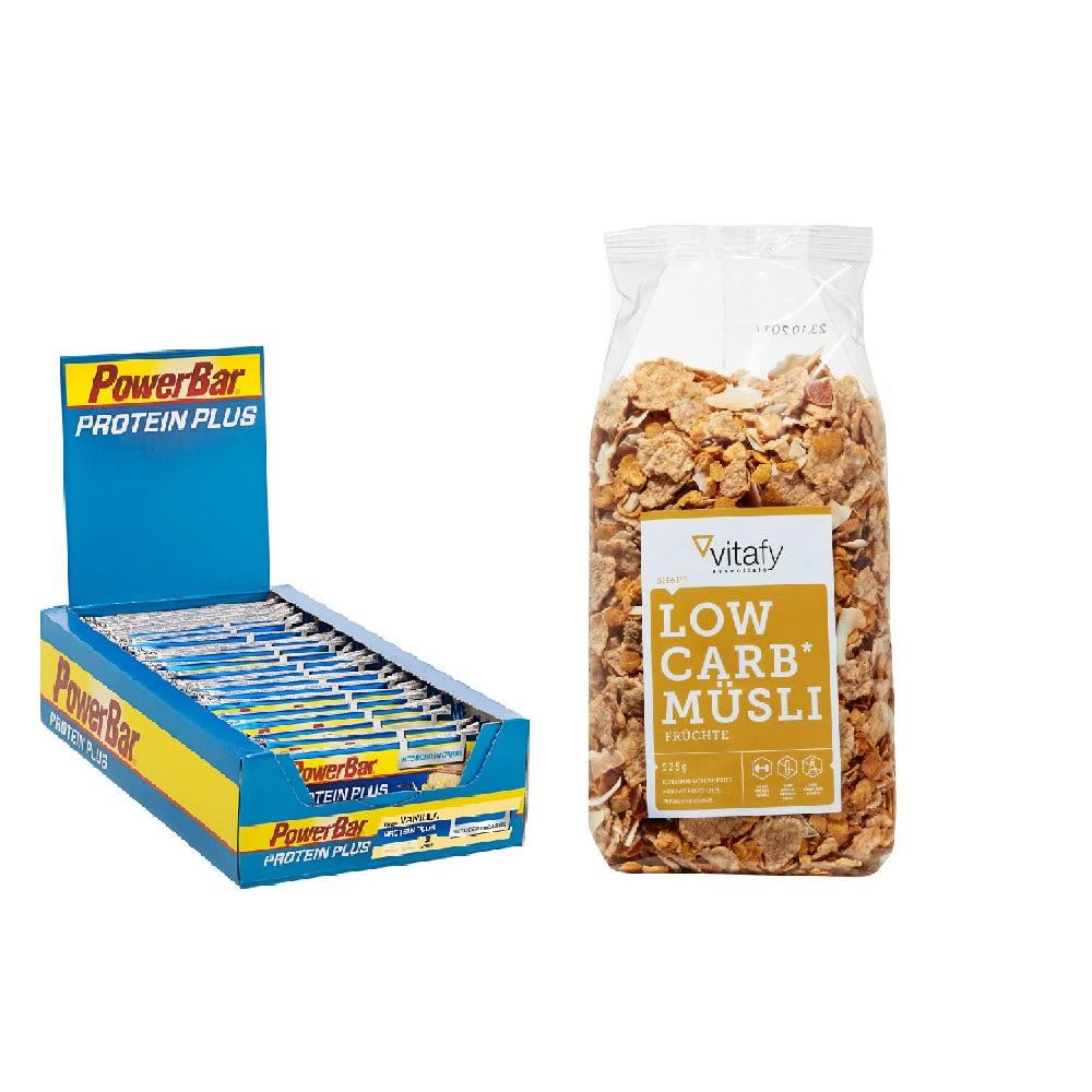 30x35g PowerBar Protein Plus Vanilla (kalorienreduziert) + Vitafy Essentials Low Carb Müsli (525g)