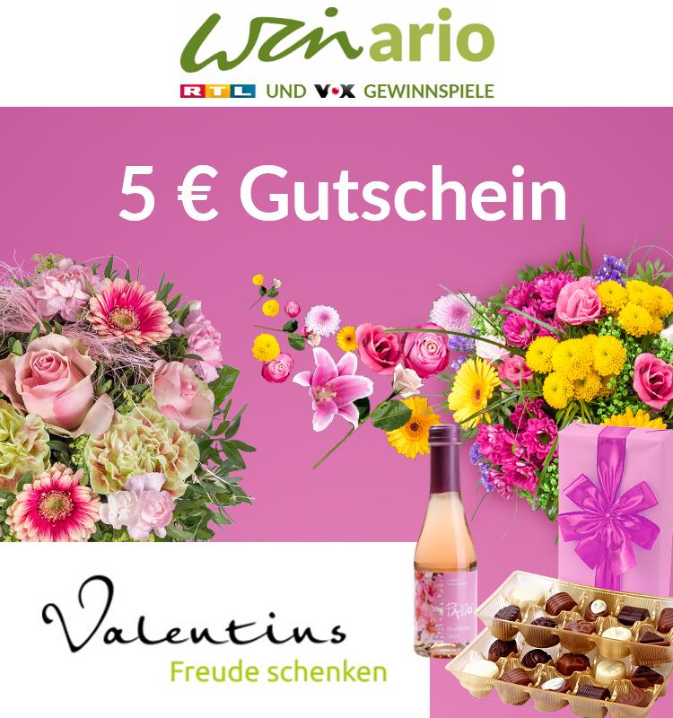 Valentins.de 5 Euro Blumen-Gutschein ohne MBW durch winario Gewinnspiel-Abschluss