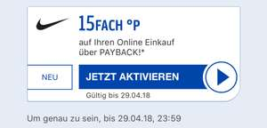 15 Fach Payback Punkte im Nike Online Store