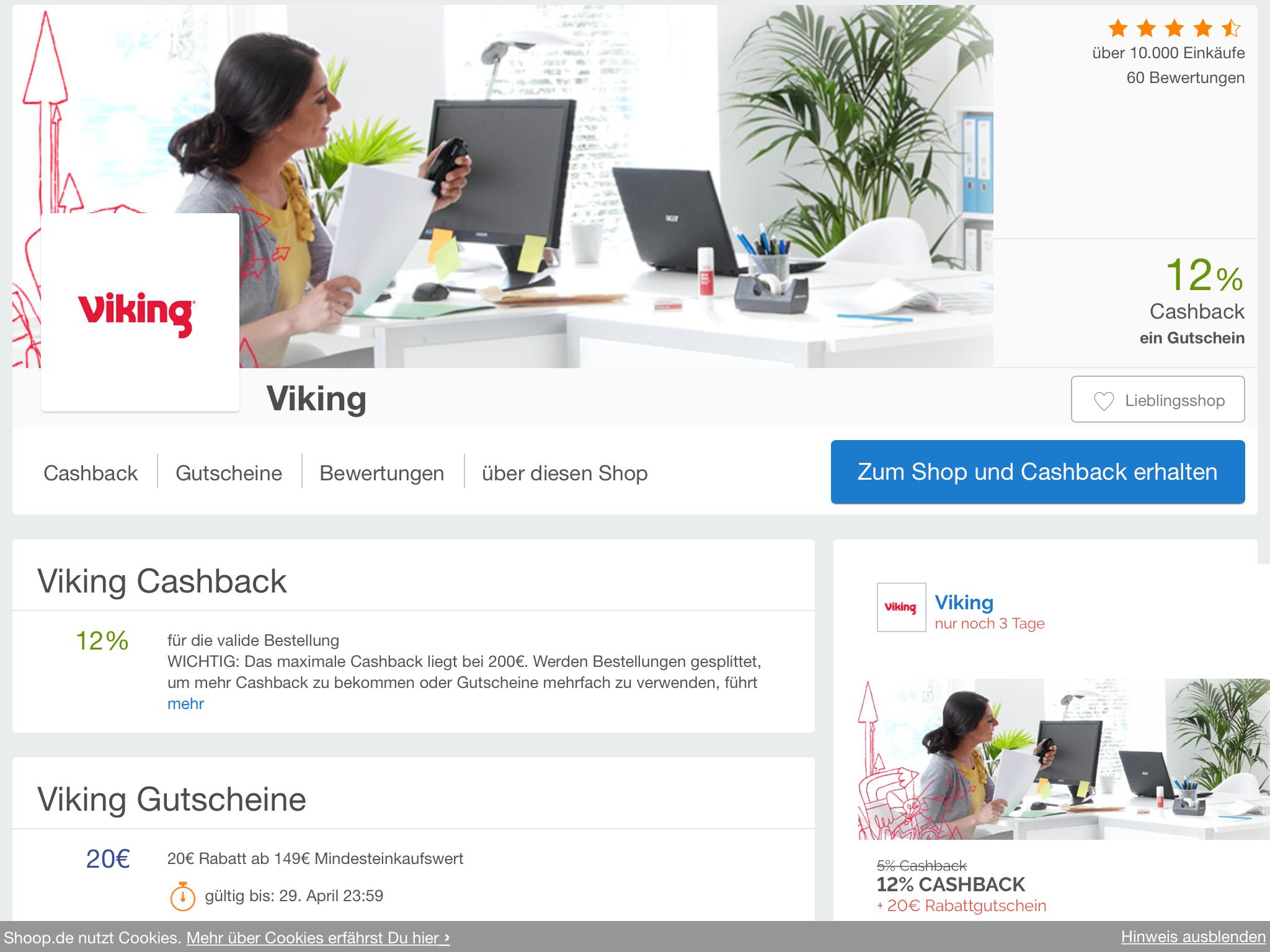 (Shoop) bei VIKING 20€ Rabatt (ab 149€) und 12% cashback