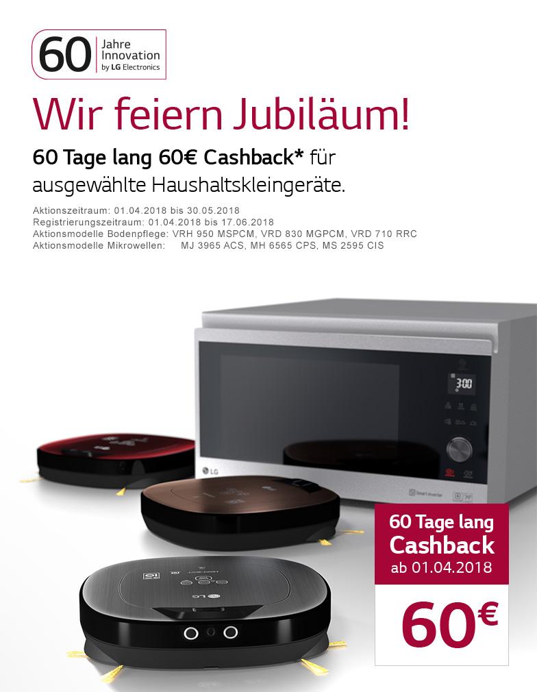 LG 60€ Cashback-Aktion div. Händler auf bestimmte Mikrowellen und Saugroboter