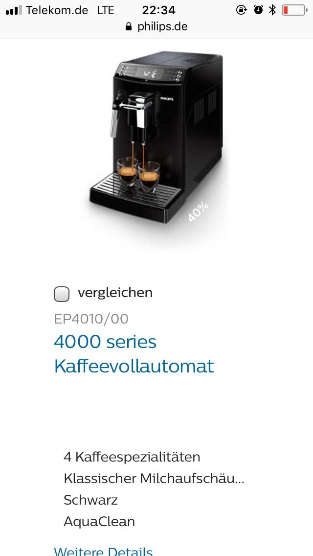 Philipps Rabatt durch Lieferandopunkte (Kaffeevollautomat EP4010/00)