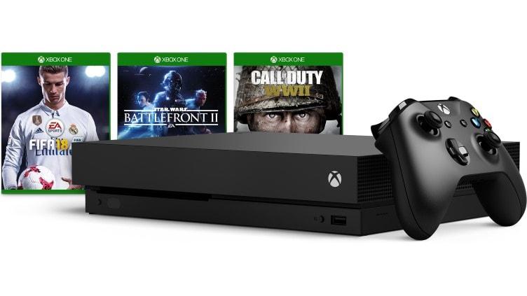 Xbox One X 1TB + 2. Controller inkl. ein Spiel Call of Duty: WWII / Star Wars Battlefront II / FIFA 18 für 425€ (MS Store Schweiz)