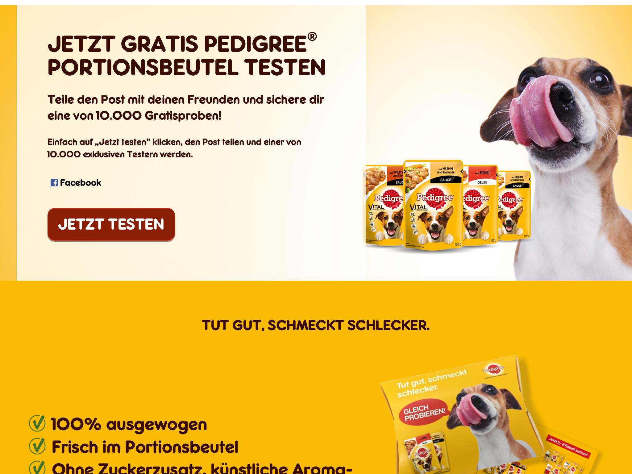 (Pedigree) Hundefutterproben (über Facebook)